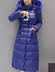abordables -Femme Quotidien Style classique Couleur Pleine Grandes Tailles fermeture Éclair Longue Doudoune, Coton / Autres Manches Longues Hiver Noir / Rouge / Bleu royal XXL / XXXL / XXXXL / Mince