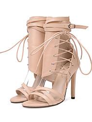 cheap -Women's Lace up PU(Polyurethane) Spring / Summer Comfort / Novelty Sandals Open Toe Rivet / Buckle Black / Almond / Wedding / Party & Evening / Party & Evening