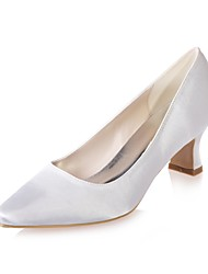 cheap -Women's Wedding Shoes Block Heel Square Toe Satin Basic Pump Spring / Summer White / Purple / Champagne / Party & Evening