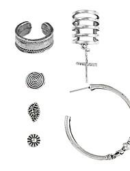 cheap -Women's Stud Earrings Hoop Earrings Geometrical Cross Ladies Fashion Hip-Hop Earrings Jewelry Silver For Club Bar