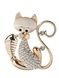 cheap -Women's Brooches Cat Animal Ladies Sweet Opal Imitation Diamond Brooch Jewelry Gold Silver For Daily Going out