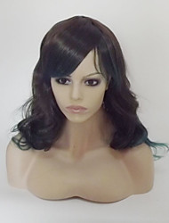 cheap -Synthetic Wig Curly Natural Wave Natural Wave Asymmetrical With Bangs Wig Medium Length Long Black / Green Synthetic Hair Women's Highlighted / Balayage Hair Natural Hairline Black