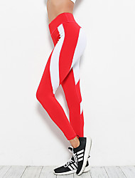 abordables -Femme Collants de Course Running Mosaïque Elasthanne Des sports Hiver Collants Yoga Pilates Exercice & Fitness Yoga Fitness Rayure Cœur Mode Rouge