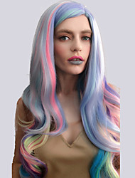 cheap -Synthetic Wig Natural Wave Natural Wave Wig Pink Long Very Long Rainbow Synthetic Hair Women's Highlighted / Balayage Hair Side Part Pink