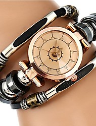 Недорогие -Жен. Наручные часы обернуть часы Кварцевый Стеганная ПУ кожа Черный / Коричневый Защита от влаги Секундомер Аналоговый Дамы На каждый день Мода - Черный Коричневый Один год Срок службы батареи