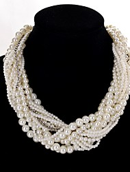 cheap -Women's Choker Necklace Classic Fashion Elegant Pearl Copper White Necklace Jewelry For Wedding Party
