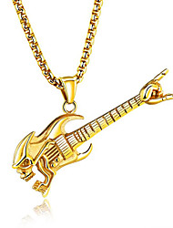 cheap -Men's Pendant Necklace Music Guitar Fashion Hip-Hop Titanium Steel Gold Silver Necklace Jewelry For Club Bar