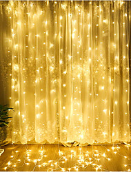 cheap -ZDM 1PC LED Curtain Lamp String 3*3 m 300 led Christmas Outdoor Waterproof Festival Wedding Decorative Curtain Multicolor/ Warm White/Cold White/Blue EU AC220V / US AC110V
