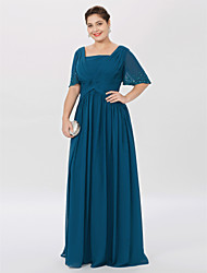 cheap -Ball Gown / A-Line Square Neck Floor Length Chiffon Short Sleeve Classic & Timeless / Elegant & Luxurious / Elegant Mother of the Bride Dress with Pleats / Beading Mother's Day 2020