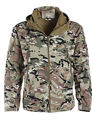 cheap -Men's Camouflage Hunting Jacket Outdoor Thermal / Warm Waterproof Windproof Breathable Autumn / Fall Winter Camo Jacket Softshell Jacket Winter Jacket Polyester Softshell Long Sleeve Camping / Hiking