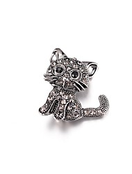 cheap -Women's Brooches Cat Animal Cartoon Imitation Diamond Brooch Jewelry Silver For Daily