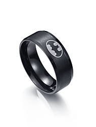 cheap -Men's Band Ring One-piece Suit Black Stainless Steel Tungsten Steel Metal Circle Initial Graduation Daily Jewelry
