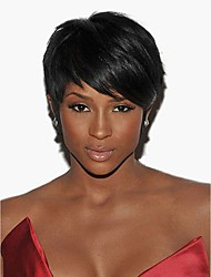cheap -Human Hair Capless Wigs Human Hair Straight Short Hairstyles 2019 Halle Berry Hairstyles Side Part Short Machine Made Wig Women's