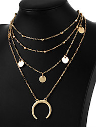 cheap -Women's Choker Necklace Pendant Layered Moon Crescent Moon double horn Ladies Simple Fashion Multi Layer Alloy Gold Silver Necklace Jewelry For Gift Daily Evening Party Prom Promise