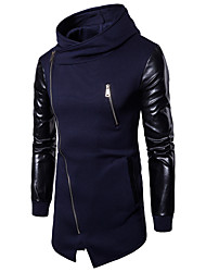 cheap -Men's Hoodie Color Block Hooded Basic / Punk & Gothic Long Sleeve Slim Black Dark Gray Navy Blue M L XL XXL