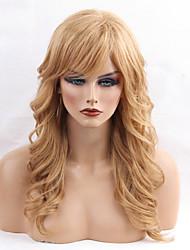 Недорогие -Человеческие волосы Парик Длинные Прямой Прямой силуэт Боковая часть Машинное плетение Жен. Черный Мед блондинку Medium Auburn 24 дюйм
