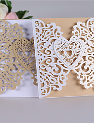 cheap -Double Gate-Fold Wedding Invitations Invitation Cards Classic Style / Heart Pearl Paper