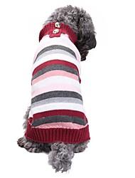 cheap -Cat Dog Costume Coat Sweater Winter Dog Clothes Costume Spandex Linen&Cotton Blend Chinlon Stripes British Casual / Daily Keep Warm Wedding XXS XS S M L XL