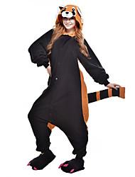 cheap -Adults' Kigurumi Pajamas Raccoon Bear Animal Onesie Pajamas Polar Fleece Black Cosplay For Men and Women Animal Sleepwear Cartoon Festival / Holiday Costumes