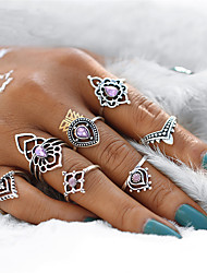 cheap -Women's Rings Set Pinky Ring Synthetic Amethyst 7pcs Silver Crystal Alloy Geometric Ladies Vintage Bohemian Party Gift Jewelry Geometrical filigree Drop Flower