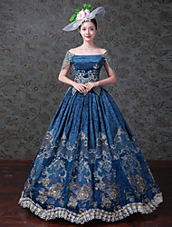 cheap -Maria Antonietta Vintage Rococo Victorian 18th Century Vacation Dress Dress Party Costume Masquerade Women's Tulle Lace Costume Blue Vintage Cosplay Homecoming Floor Length