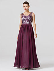 cheap -Ball Gown Holiday Cocktail Party Prom Dress V Neck Sleeveless Floor Length Chiffon Lace with Sash / Ribbon Pleats 2020 / Formal Evening