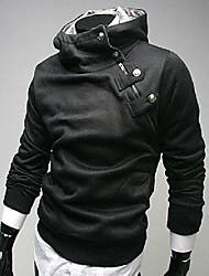 cheap -Men's Long Sleeve Slim Hoodie - Solid Colored Hooded Black XL