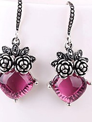 cheap -Women's Crystal Drop Earrings Flower Classic Fashion Crystal Earrings Jewelry Silver For Daily One-piece Suit