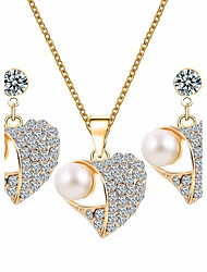 cheap -Women's Jewelry Set Heart Sweet Elegant Pearl Earrings Jewelry Gold For Birthday Daily / Necklace