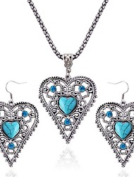 cheap -Women's Turquoise Drop Earrings Necklace Heart Ladies Vintage Fashion Turquoise Earrings Jewelry Silver For Daily