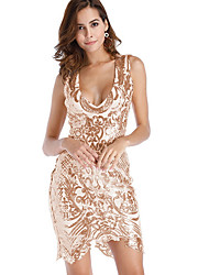 cheap -Women's Sequins Party Sheath Dress - Solid Colored V Neck Fall Gold L XL XXL / Backless / Sexy