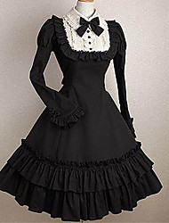 cheap -Princess Gothic Lolita Punk Ruffle Dress Dress Women's Girls' Cotton Japanese Cosplay Costumes Black Solid Color Fashion Bell Sleeve Long Sleeve Midi / Gothic Lolita Dress / Tuxedo