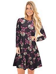 cheap -Women's Christmas Carnival Active A Line Dress - Print Winter Black Red Green S M L XL