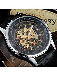 cheap -WINNER Men's Dress Watch Wrist watch Mechanical Watch Automatic self-winding Hollow Engraving Leather Band Vintage Casual Black