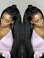 cheap -Human Hair Lace Front Wig style Brazilian Hair Straight Wig 130% Density 100% Virgin Women's Long Human Hair Lace Wig