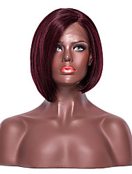 cheap -Synthetic Lace Front Wig Yaki Yaki Bob with Baby Hair L Part Wig Short Dark Wine Synthetic Hair Women's Side Part Red EEWigs