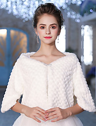 cheap -Half Sleeve Faux Fur Wedding / Party / Evening With Feathers / Fur / Printing / Crystal Brooch Shrugs