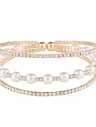 cheap -Women's Cuff Bracelet Tennis Bracelet Ladies Classic Fashion Imitation Pearl Bracelet Jewelry Gold / Silver For Daily / Imitation Diamond