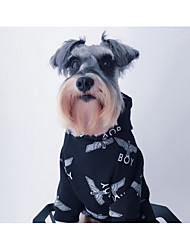 cheap -Dog Hoodie Dog Clothes Print White Black Cotton Costume For Cross-Seasons Spring, Fall, Winter, Summer Unisex Cultural Unusual Stylish