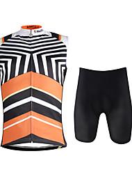 cheap -ILPALADINO Men's Sleeveless Cycling Jersey with Shorts Black / Orange Camo / Camouflage Bike Vest / Gilet Padded Shorts / Chamois Clothing Suit 3D Pad Quick Dry Sports Lycra Fashion Road Bike Cycling