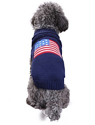 cheap -Cat Dog Costume Coat Sweater Winter Dog Clothes Blue Costume Spandex Linen&Cotton Blend Chinlon Flag American / USA Casual / Daily Keep Warm Wedding XXS XS S M L XL