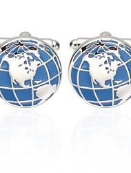 abordables -Boutons de manchettes Globe Ethnique Broche Bijoux Bleu Pour Vacances