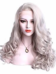 Недорогие -Синтетические кружевные передние парики Волнистый Волнистый С пушком Лента спереди Парик Средние Серый Искусственные волосы Жен. Серый EEWigs