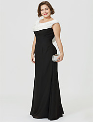 cheap -Sheath / Column Mother of the Bride Dress Classic & Timeless Elegant & Luxurious Color Block Cowl Neck Floor Length Chiffon Sleeveless with Ruched Beading 2020