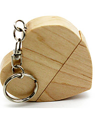 cheap -Ants Wooden Heart Shape Keychain 8GB USB Flash Drive 64G 32G 16G USB Disk USB 2.0 Usb Exquisite Pendrive