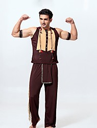 cheap -American Indian Cosplay Costume Men's Halloween Carnival Oktoberfest Beer Festival / Holiday Poly / Cotton Brown Men's Carnival Costumes Vintage / Top