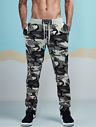 cheap -Hiking Pants Men's Active / Basic / Military Sports Casual / Daily wfh Sweatpants Pants - Camo / Camouflage Ruched Gray L XL XXL
