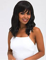 cheap -Synthetic Wig Wavy Wavy With Bangs Wig Medium Length Black#1B Synthetic Hair Women's Black