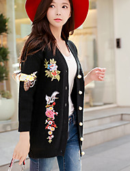 cheap -Women's Going out Vintage / Street chic Puff Sleeve Cardigan - Vintage, Knitting / Embroidered V Neck