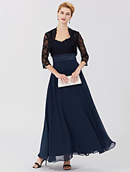 cheap -Two Piece / Ball Gown / A-Line Straps Ankle Length Chiffon / Sheer Lace Sleeveless Elegant / Plus Size Mother of the Bride Dress with Sash / Ribbon 2020 / Illusion Sleeve
